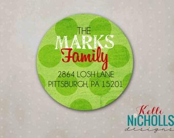 Lime Green Polka Dot Christmas Return Address Labels, Custom Merry and Bright Envelope Sticker #C103