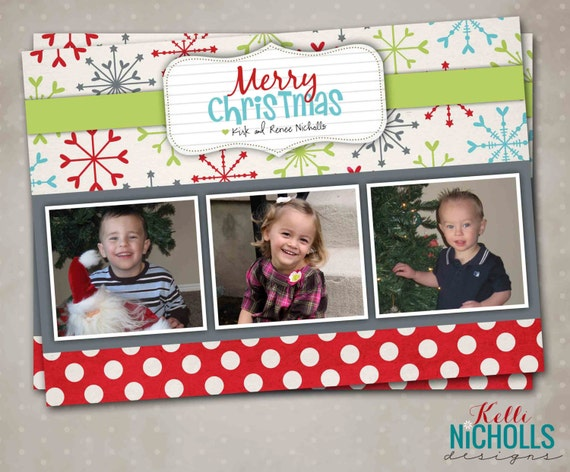 Snowflake and Polka Dot Christmas Photo Card, Personalized 3 Picture Holiday Card, Merry Christmas #C100