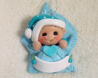 BABY CHRISTMAS ORNAMENT, first Christmas ornament, blue baby blanket, polymer clay, personalized, baby gift, holiday, tree decoration