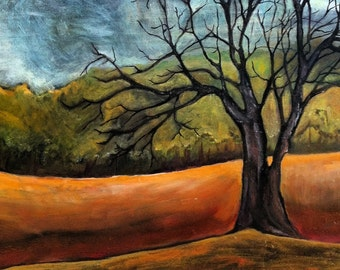 Oil Painting, Lone Oak Tree in Winter, Landscape
