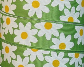 Apple Green with Daisies 7/8 Inch Grosgrain Ribbon 20 Yards