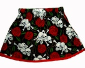Skull Rose - Rockabilly Girl - Punk Rock Baby -  Toddler Girl - Tattoo Baby Clothes - Skirt 3m, 6m, 12m
