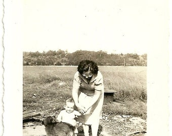 Vintage Photograph Mother In Eyeglasses With Child And Fluffy Puppy Dog Black And White Photo