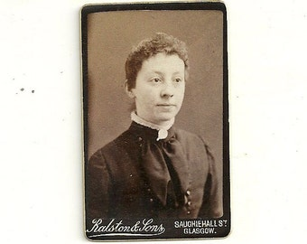 Glasgow Scotland Miniature Antique Cabinet Card Photo Girl With Curly Hair Vintage Cabinet Photo