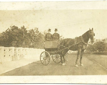 Antique Photo Aristocratic Horse And Carriage Drivers Vintage Victorian Photograph