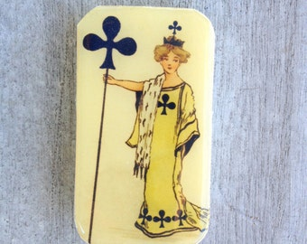 Vintage Queen of clubs slider tin, pill box, mint tin, favor tin