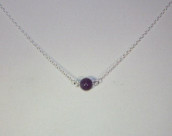 Genuine Amethyst Solitaire Necklace - February Birthstone - Sterling Silver Chain