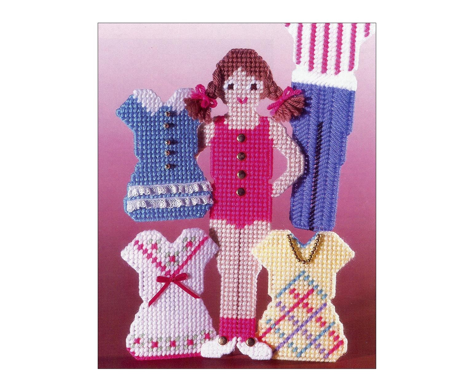 Plastic canvas paper dolls pattern magnetic by allsfairyvintage
