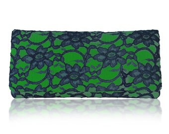 Emerald green and navy lace Astrid clutch purse, bridesmaids gifts, mother of the bride