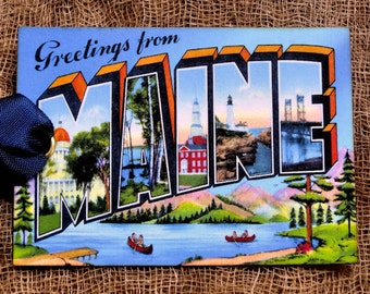 Greetings From Maine Large Letter Souvenir Postcard Tags #21