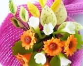 Miniature Polymer Clay Flowers Supplies Sunflowers Bouquet 1 piece