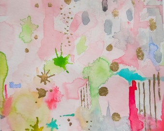 Watercolor Pink Abstract Painting-Original Art-Abstract Wall Art-Modern Art-Gallery- Wall Art-Office Art- Nursery