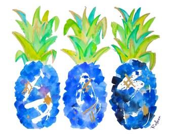 Blue Pineapple Watercolor Art Print-Tropical Wall Art-Wall Decor-Chinoiserie Decor-Giclee Print-Home Decor
