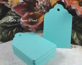 Aqua tags - Gift tags - Wedding tags - Place cards - Escort cards - Paper tags - Size 3 1/8 inch x 2 inch