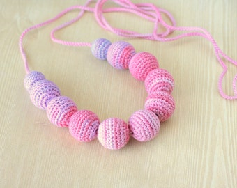 Crochet necklace, Pink nursing necklace Teething necklace  Ready to ship!
