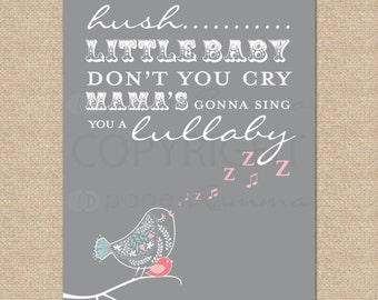Baby Nursery Art, nursery wall art, Hush Little Baby // Print for Nursery / Child's Room // N-G21-1PS AA1