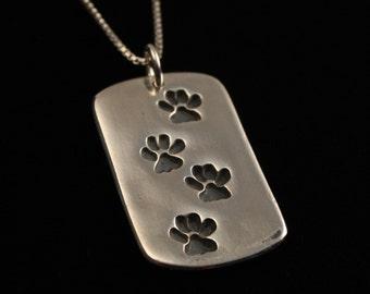 Dog Paw Dog Tag Necklace - Dog Tracks - Dog Walker - Fine Silver - Hand Made Artisan Jewelry - ME Designs