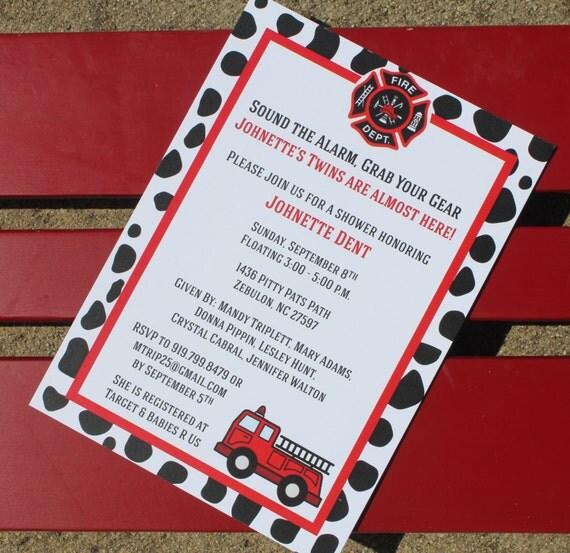 Fire Truck Themed Baby Shower Invitation Fire Truck Birthday