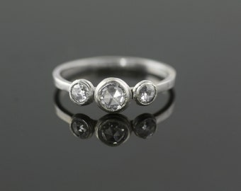 Platinum and Rose Cut Diamond Engagement Ring Ethical and Recycled