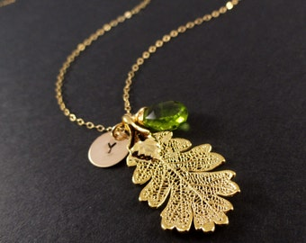 Real leaf necklace, oak leaf, mothers necklace, botanical, gold dipped leaf, semi precious jewelry, birthstone necklace, personalized