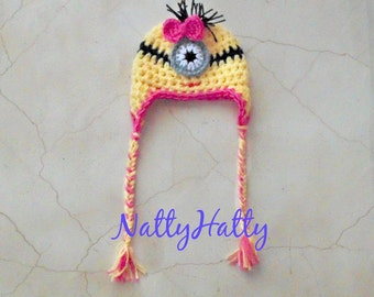 Despicable Me Minion For BOY OR GIRL Crochet Hat earflapas, Minion Halloween costume, Despicable me minion baby