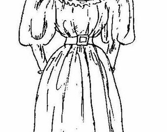 Dollhouse Miniature Dress Pattern for the Girls~ Red-A