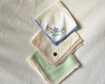Vintage Linen Hankies Linen Handkerchief Lace Edge Hankies