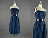 1950s Dress / iridescent party dress / 50s dress / midnight blue cocktail dress