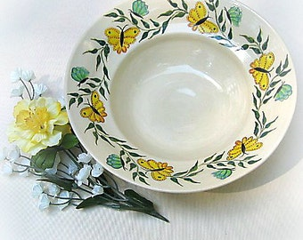 Serving Bowl in White With Butterflies and Greenery