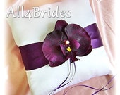Ring Bearer Pillow Deep Purple Orchid, Weddings Ring Pillow, Ceremony Decor, Orchid Flower Ring Pillow