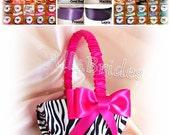 Zebra weddings flower girl basket, custom colors satin ribbon, hot pink, teal, purple, lapis, fuchsia and more