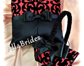 Red and black damask wedding ring pillow and flower girl basket, ring bearer pillow and flower girl basket set