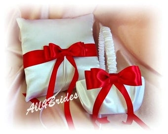 Red and White Wedding Flower Girl Basket and Ring Bearer Pillow Set, Red and White Wedding Ceremony Accessories