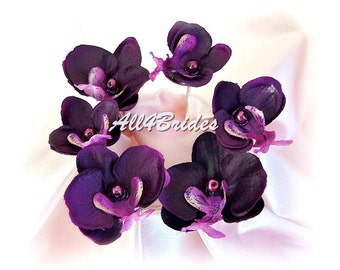 Purple orchid flower hair pin, bridal wedding day hair accessories, set of six hair pins