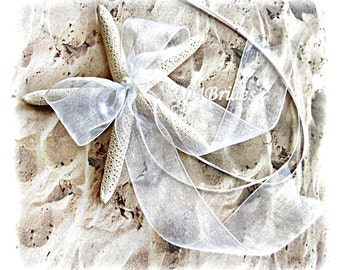 Beach weddings starfish ring holder, white starfish ring bearer pillow