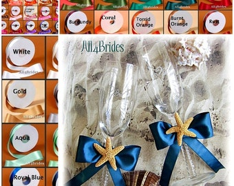 Starfish Beach Weddings Champagne Glasses - Satin Ribbon Custom Colors - Beach Wedding -  Stemware Decoration Glasses - Real Starfish