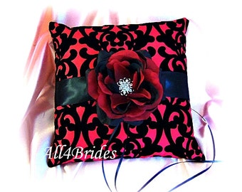 Red and black wedding damask ring bearer pillow,  gothic wedding ring cushion.