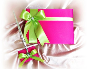 Hot pink and lime green wedding guest book and pen set