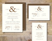 Printable Wedding Invitations . DIY Wedding Invitations . Wedding Invites . Rustic Wedding Invitations . PDF . JPEG  - Ampersand