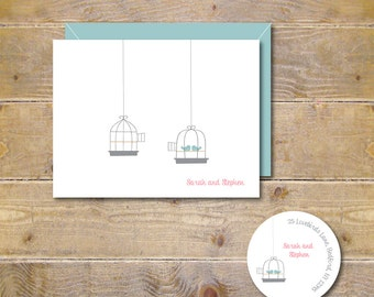 Wedding Thank You Cards, Bridal Shower Thank You Cards, Wedding Announcement, Love Birds, Birds, Birdcage - Let's Stay Together
