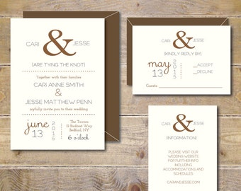 Ampersand Wedding Invitations . Wedding Invitations . Wedding Invites . Rustic Wedding Invitations . Ampersand Wedding  - Ampersand