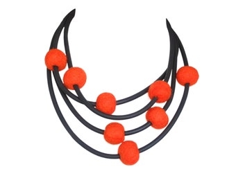 orange necklace, original jewelry,
