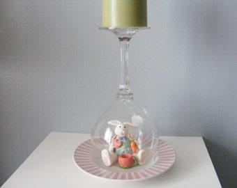 Glass Candle Holder, Easter Rabbit