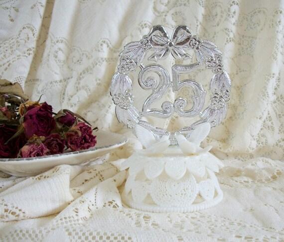 SALE Vintage 25th Anniversary Cake Topper Silver Anniversary