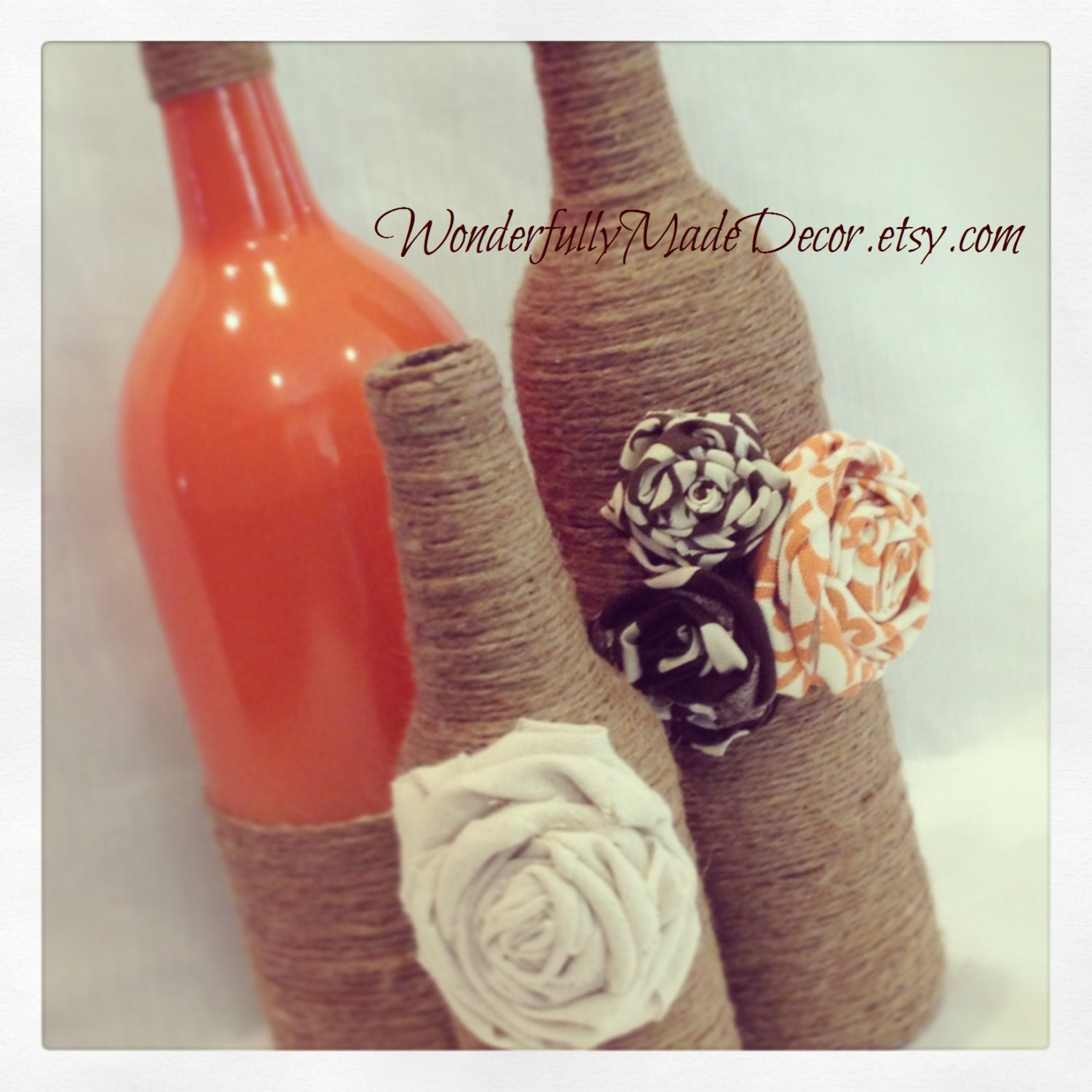 Recycled wine bottles rustic fall decor by for Recycled decorative items