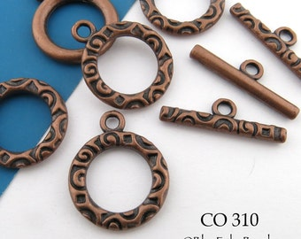 17mm Antique Copper Toggle Clasp Decorative (CO 310) 4 sets BlueEchoBeads