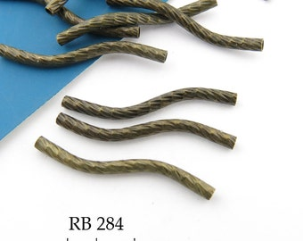 25mm Wavy Noodle Antique Brass Bead, Antique Bronze, Tube Bead Textured (RB 284) 10 pcs BlueEchoBeads