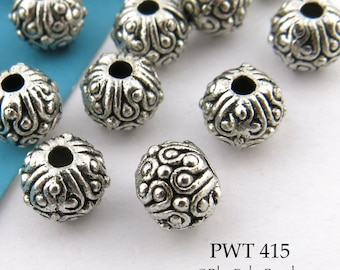 6mm Small Detailed Pewter Beads Antique Silver (PWT 415) 15 pcs BlueEchoBeads