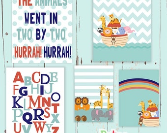 Noahs Ark Alphabet Two by Two Word Nursery Art Print Set Baby Boy Room Decor