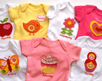 It's a girl - Baby onesie week set of 7 with hand embroidered appliques, baby shower gift personalized